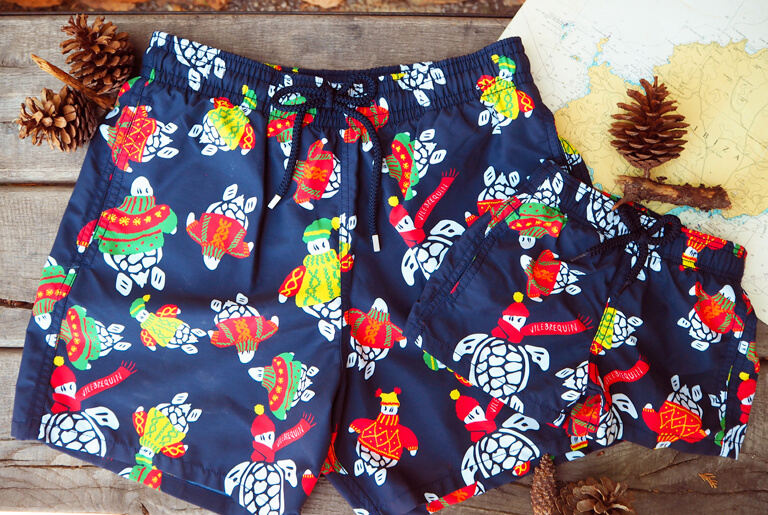 father son matching swim trunks sweeter turtles