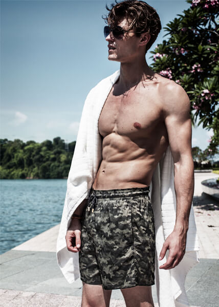 khaki men's swimwear