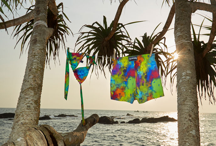 Colorful, light women and men swimwears ideal for summer