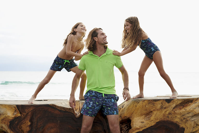 family printed swimsuit man boy girl