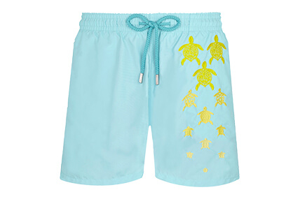Sky blue Motu men's embroidered swimsuit