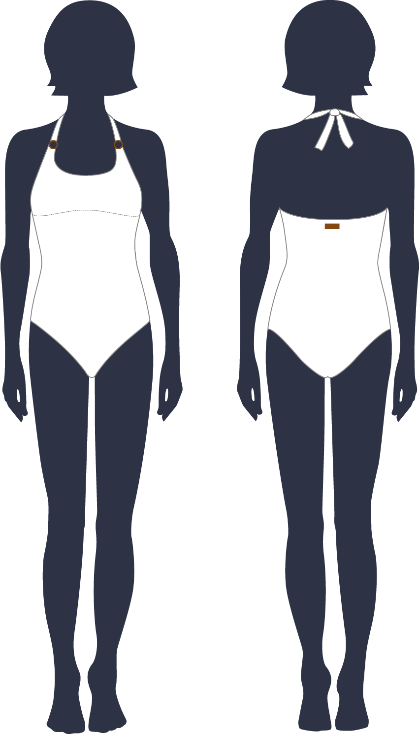 Classic one-piece swimsuit to tie at the neck for women