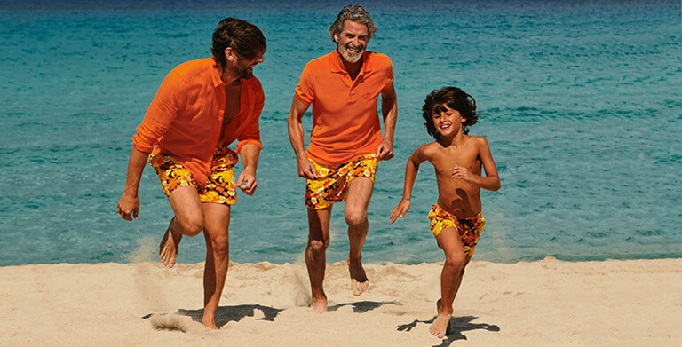 50th anniversary of Vilebrequin, family with the same swim trunks print