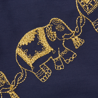 Men Classic Embroidered - Men Swim Trunks Embroidered Elephant Dance - Limited Edition, Navy supp3