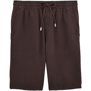 Men Others Solid - Men Italian Pockets Linen Bermuda Shorts Solid, Chocolate front