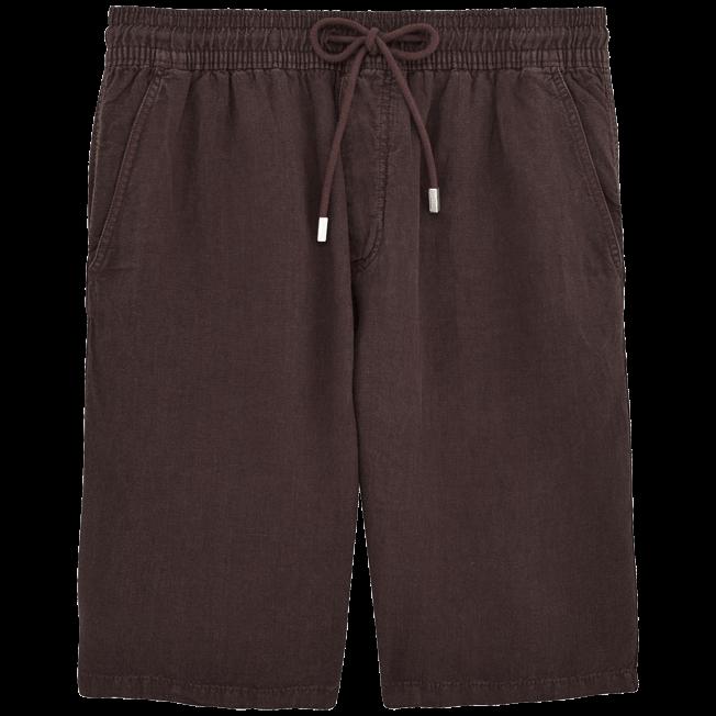 Vilebrequin - Bermudas cortas de lino con estampado liso y bolsillos italianos para hombre - 1