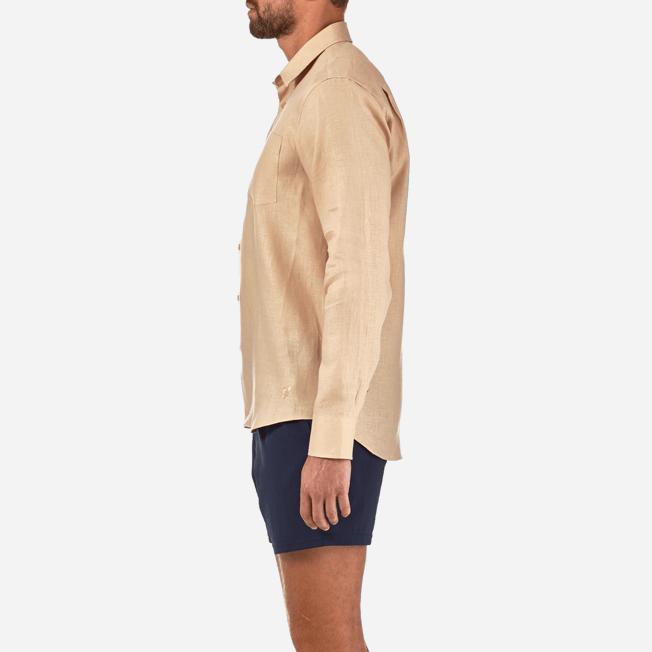 Vilebrequin - Camisa de lino liso para hombre - 7