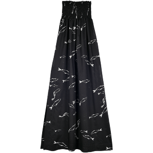 Women Dresses Printed - Women Long Bustier Cotton Voile Dress Fish Dance, Black front