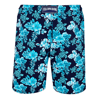 Men Long classic Printed - Men Swim Trunks Long Stretch Turtles Flowers, Navy back