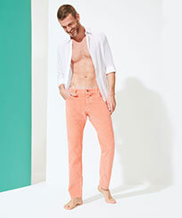 Men Others Solid - Men Corduroy Carrot Fit Pants, Tea pink frontworn