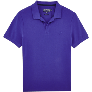 Men Polos Solid - Solid Cotton pique polo, Ultramarine front