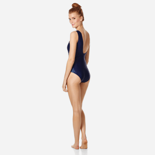 Women One piece Printed - Women One Piece Swimsuit Asymetrical Shell Turtles, Navy backworn