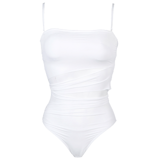 Women One piece Solid - Women Bustier One piece Swimsuit Solid, White front