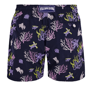 Herren 017 Bestickt - Coral and Turtles Bademode mit Stickarbeiten für Herren – Limited Edition, Marineblau back