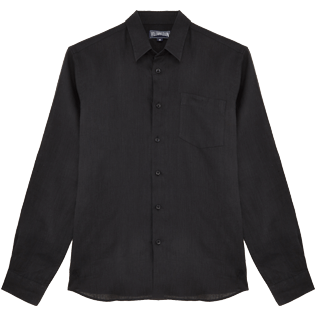 Men Shirts Solid - Men Linen Shirt Solid, Black front