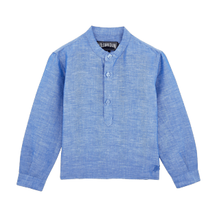 Boys Others Solid - Boys Linen Shirt Stripes, Neptune blue front