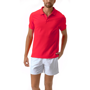 Men Polos Solid - Solid Cotton pique polo, Poppy red frontworn