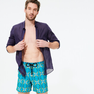 Men Classic Embroidered - Men Swim Trunks Embroidered Sweet Fishes - Limited Edition, Light azure supp3
