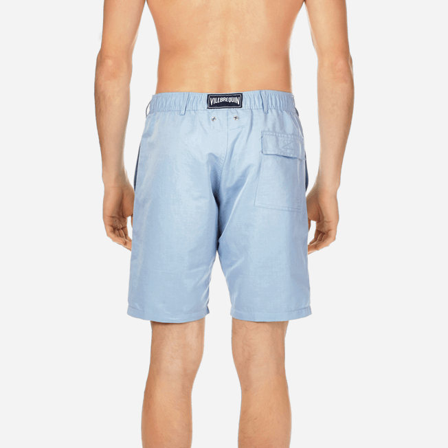 Vilebrequin - Men Straight Linen Cotton Bermuda Shorts Solid - 6