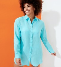 Women Others Solid - Women Long Linen Shirt Solid, Lazulii blue frontworn