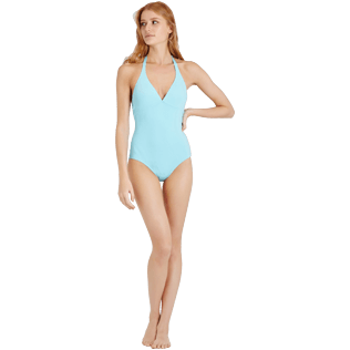 Women One piece Solid - Women Deep V One Piece Swimsuit Solid Water, Lagoon frontworn