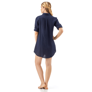 Women Shirts Solid - Long linen shirt, Navy supp5