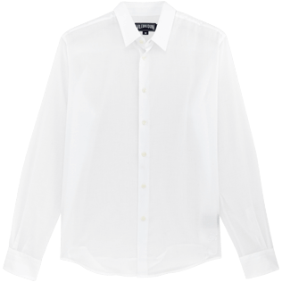 Men Shirts Solid - Solid Cotton veil shirt, White front