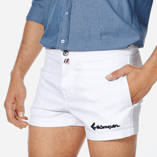 Men Others Solid - Men White 70s Shorts, White supp1