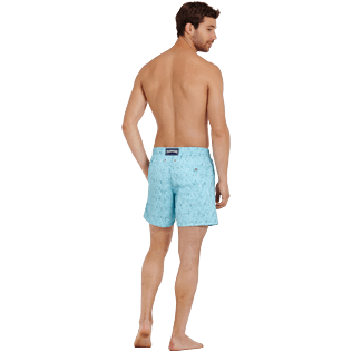 Men Classic Embroidered - Men Swimwear Embroidered Perspective Fish - Limited edition, Lagoon backworn