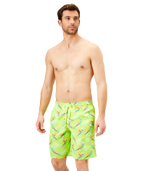 Men Long classic Printed - Men Long Swimwear Multicolore Parrots, Lemongrass frontworn