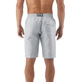 Men Shorts Graphic - Micro-stripped Linen bermuda shorts, Black supp3