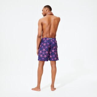 Men Long classic Printed - Men Swim Trunks Long Starfish Dance, Sapphire backworn