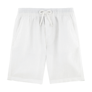 Boys Others Solid - Boys Linen Bermuda Shorts Solid, White front