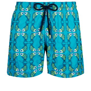 Men Classic Embroidered - Men Swim Trunks Embroidered Sweet Fishes - Limited Edition, Light azure front