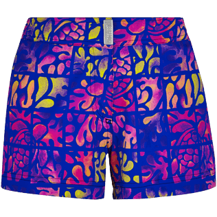 Women Others Printed - Women Stretch swim short Phuket, Sea blue front