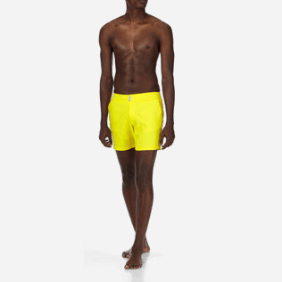 Men Flat belts Solid - Men Flat Belt Stretch Swimwear Solid, Lemon frontworn