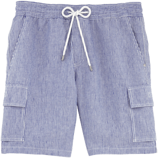 Men Shorts Graphic - Micro-stripped Linen bermuda shorts, Ultramarine front