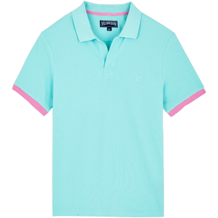 Men Others Solid - Men Cotton Polo Shirt Solid, Acqua front