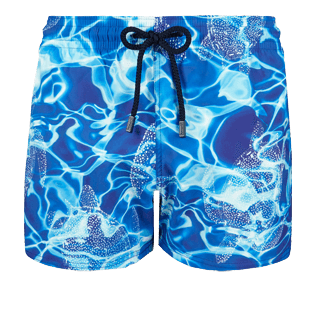 Men Short, Fitted Printed - Men Short and Fitted Stretch Swimwear Splash, Neptune blue front