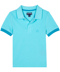 Boys Others Solid - Boys Cotton Pique Polo Shirt Solid, Lazulii blue front