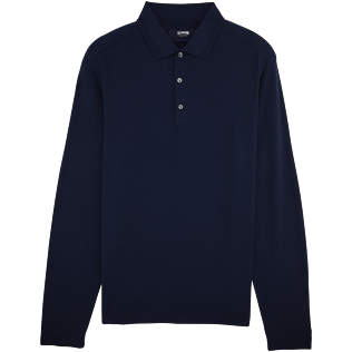 Men Polos Solid - Italian marino wool polo collar sweater, Navy front