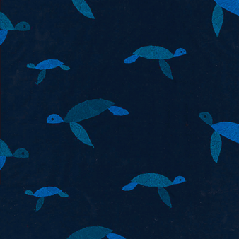 Men Swim Trunks Embroidered Origami Turtles - Limited Edition, Midnight blue pattern