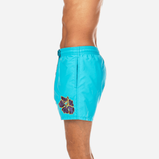 Men Classic / Moorea Embroidered - Natural Flower Placed Embroidery Swim shorts, Azure supp3
