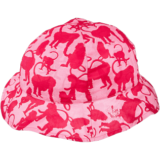 Caps AND Hats Printed - Kids Cotton Voile Cap Happy Monkeys, Peony back