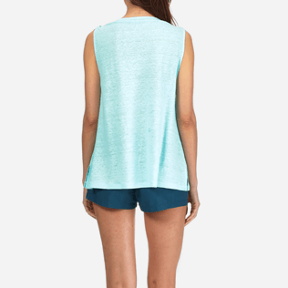 Women Tee-Shirts Solid - Women Cowl neck Linen Jersey Top Solid, Lagoon supp2