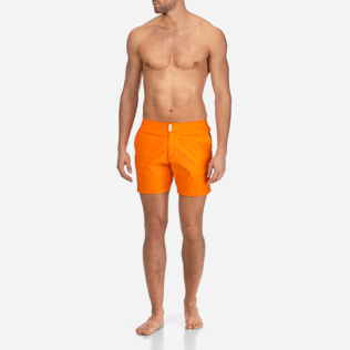 Men Flat belts Solid - Men Flat Belt Stretch swimtrunks Solid, Kumquat frontworn