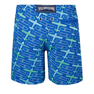 Boys Others Embroidered - Boys Embroidered Swimwear St Barth - Limited Edition, Sea blue back
