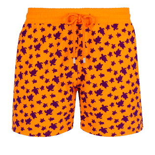 Men Classic Printed - Men Swimtrunks Flocked  Micro ronde des tortues, Safran front
