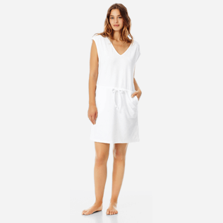 Women Others Solid - Women Short Cotton Dress Solid, White frontworn