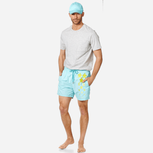 Men Classic Embroidered - Men Swim Trunks Placed Embroidery Infinite Turtles, Acqua supp2